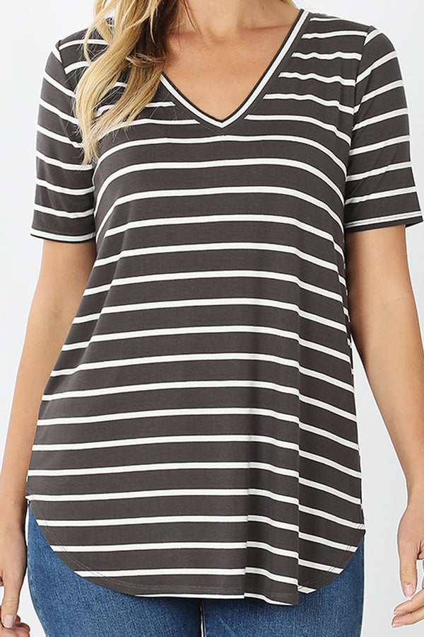 Ash Gray and Ivory Striped Short Sleeve V-Neck Top