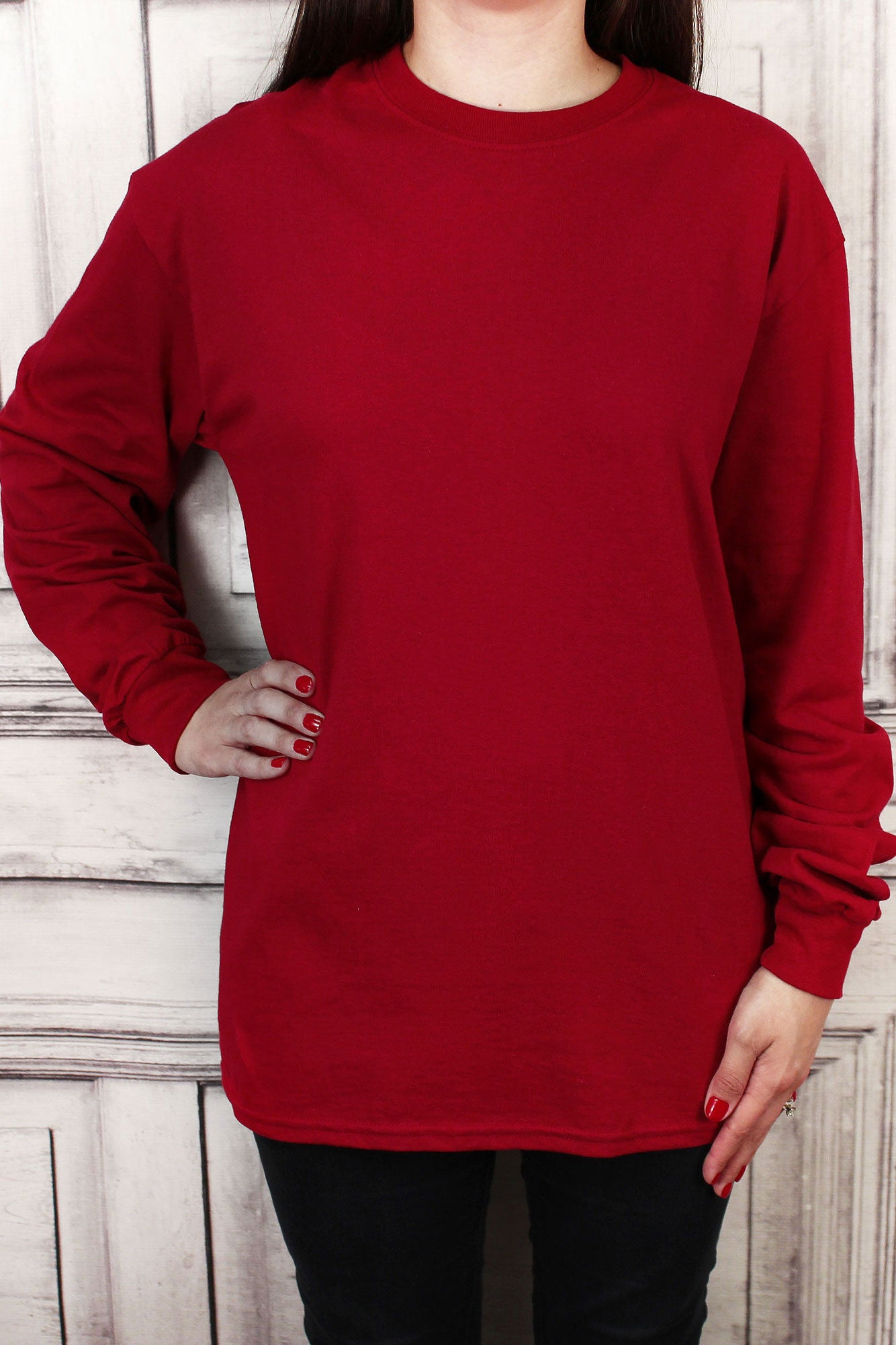 e89f49d2034 Shades of Red Ultra Cotton Adult Long Sleeve T-Shirt  2400  Personalize It