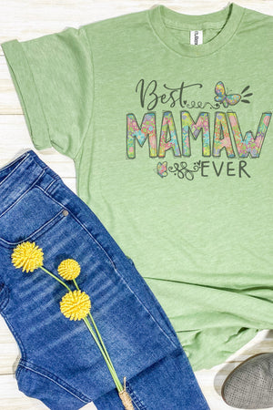 Floral Best Mamaw Ever Unisex Blend Tee