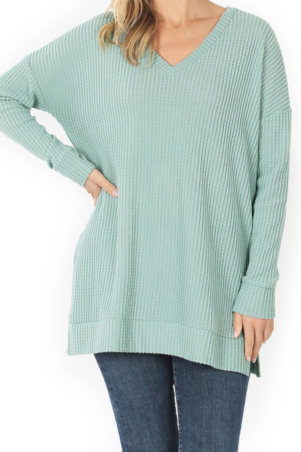 Light Green Brushed Thermal Waffle V-Neck Sweater
