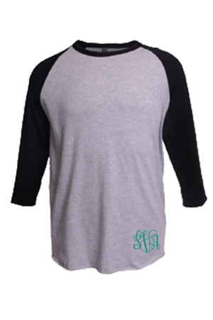 Tultex Unisex Fine Jersey Raglan Tee, Heather Gray/Black #245 *Personalize It!