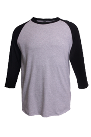 Tultex Unisex Fine Jersey Raglan Tee, Heather Gray/Black *Personalize It!