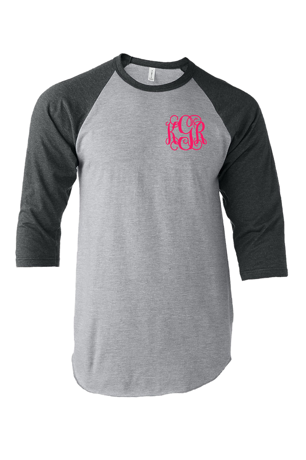 Tultex Unisex Fine Jersey Raglan Tee, Heather Gray/Heather Charcoal #245 *Personalize It!