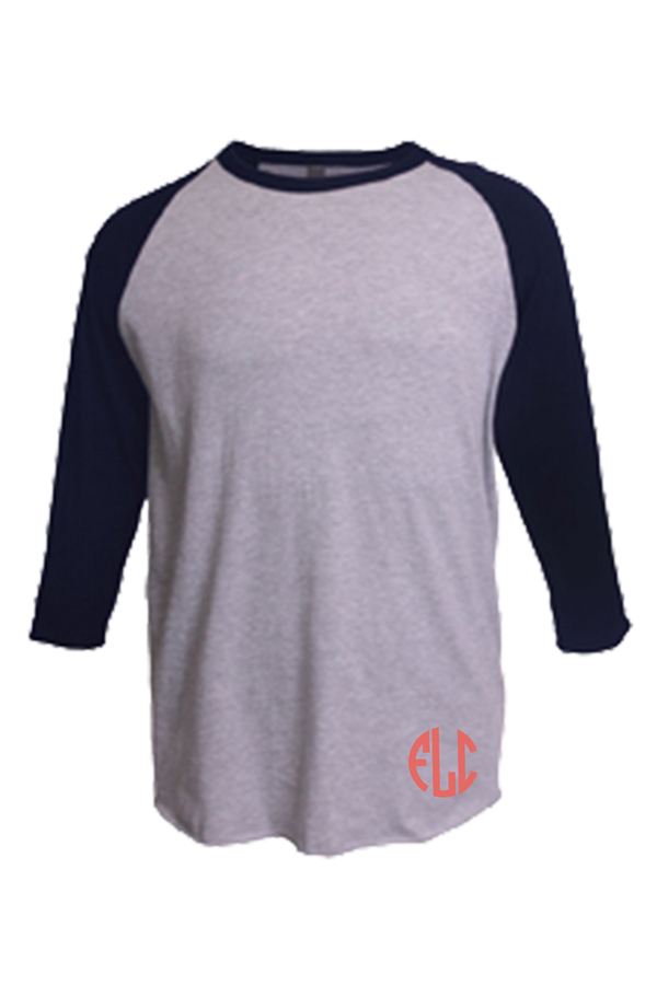 Tultex Unisex Fine Jersey Raglan Tee, Heather Gray/Heather Navy #245 *Personalize It!