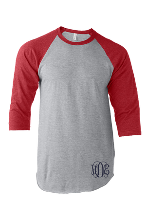 Tultex Unisex Fine Jersey Raglan Tee, Heather Gray/Heather Red #245 *Personalize It!