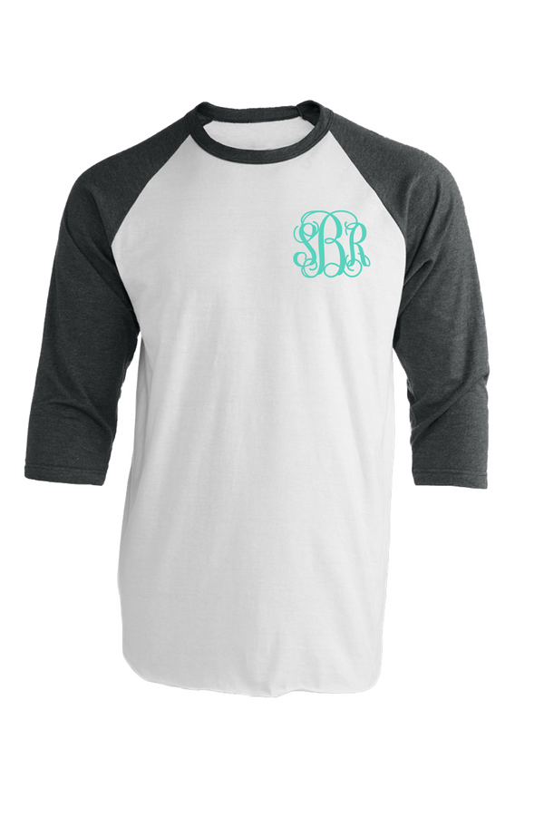 Tultex Unisex Fine Jersey Raglan Tee, White/Heather Charcoal #245 *Personalize It!