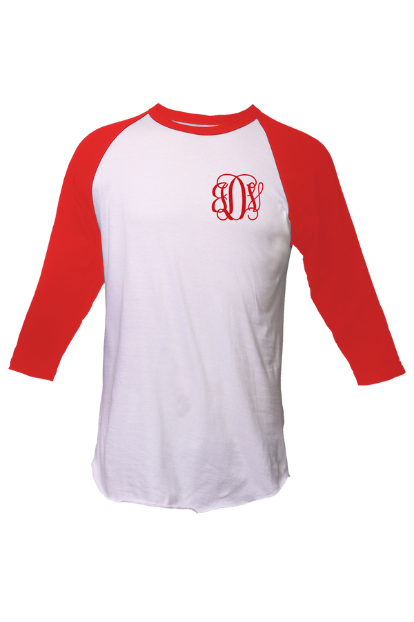 Tultex Unisex Fine Jersey Raglan Tee, White/Red #245 *Personalize It!