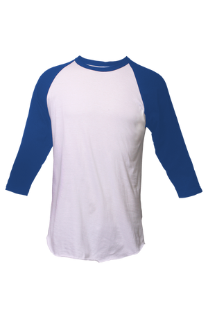 Tultex Unisex Fine Jersey Raglan Tee, White/Royal *Personalize It!