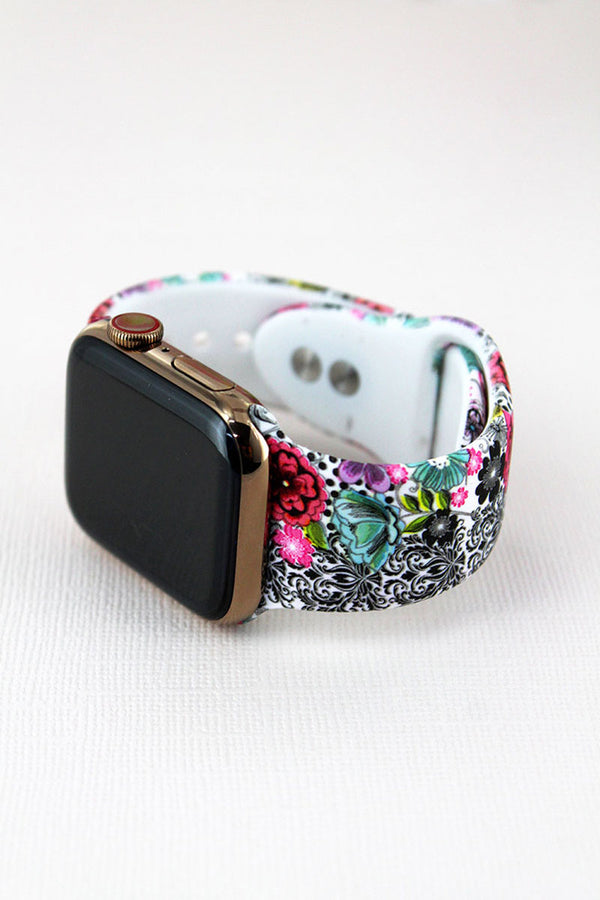 Flower Graffiti White Adjustable Band for Apple Watch