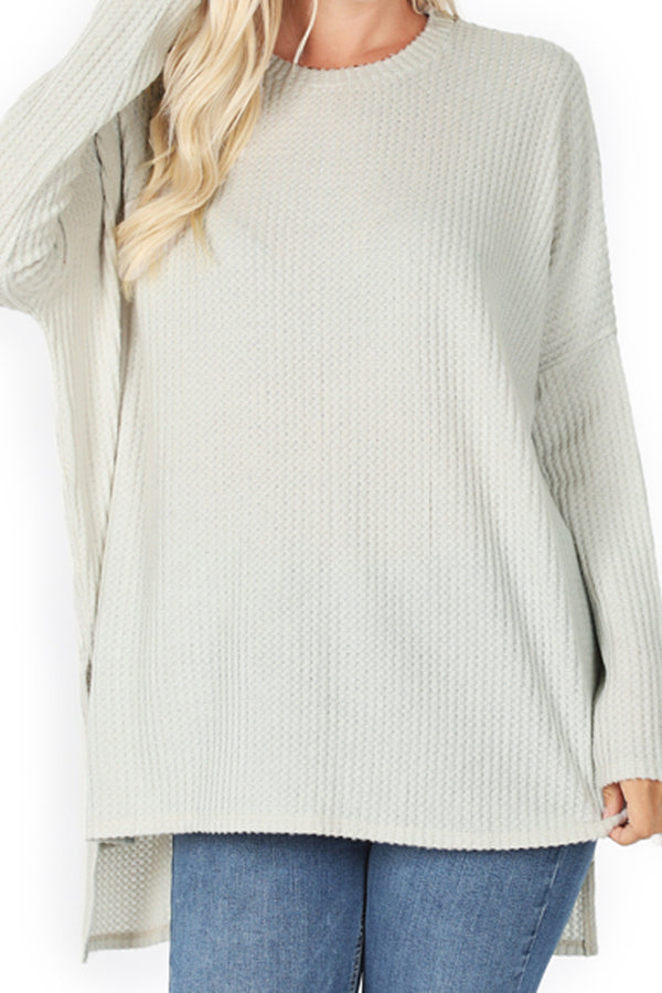 Bone Brushed Thermal Waffle Round Neck Sweater