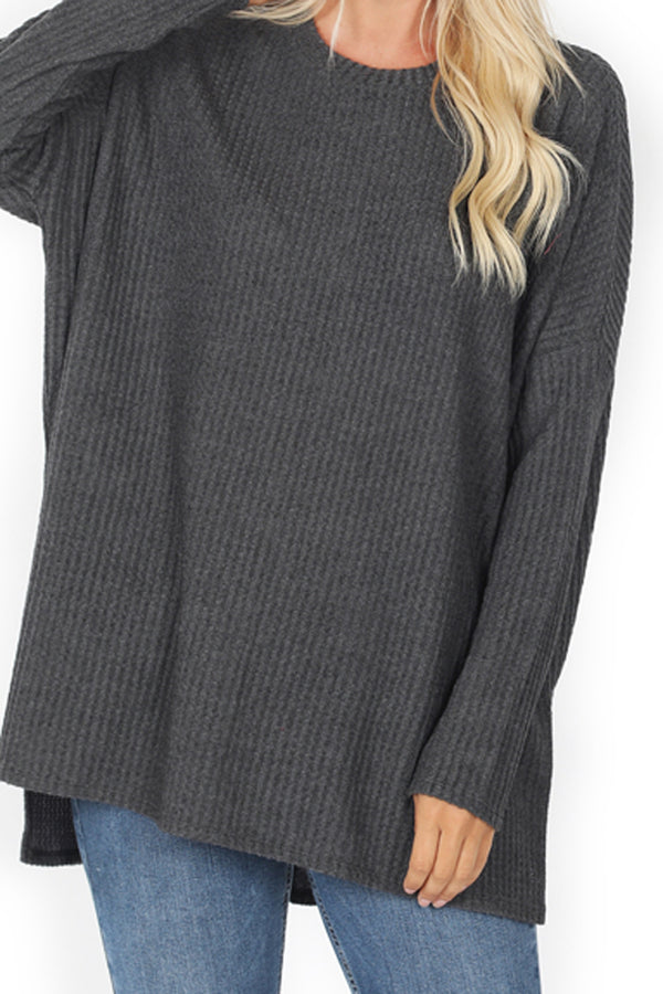 Charcoal Brushed Thermal Waffle Round Neck Sweater