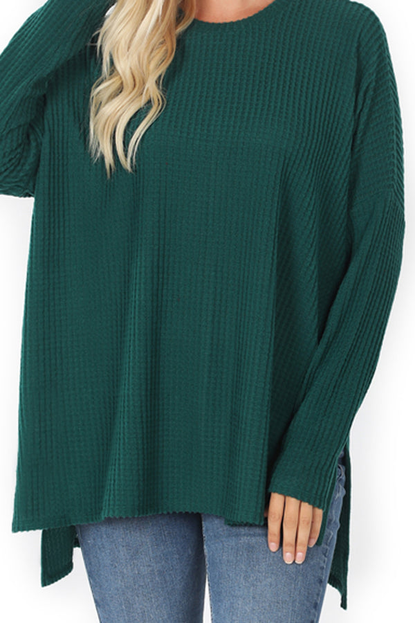 Deep Green Brushed Thermal Waffle Round Neck Sweater