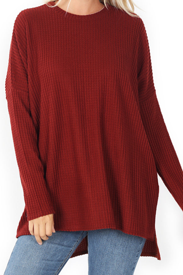 Fired Brick Brushed Thermal Waffle Round Neck Sweater