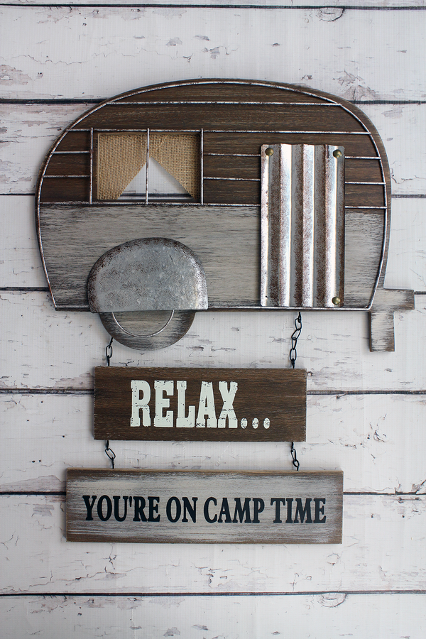 22.75 x 18.5 'Camp Time' Wood and Metal Wall Hanging