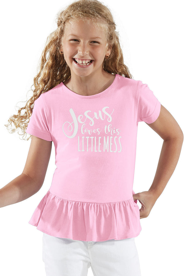 Jesus Loves This Little Mess Girl's Fine Jersey Ruffle Tee