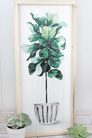 24.25 x 10.75 Potted Leafy Plant Wood Framed Wall Art