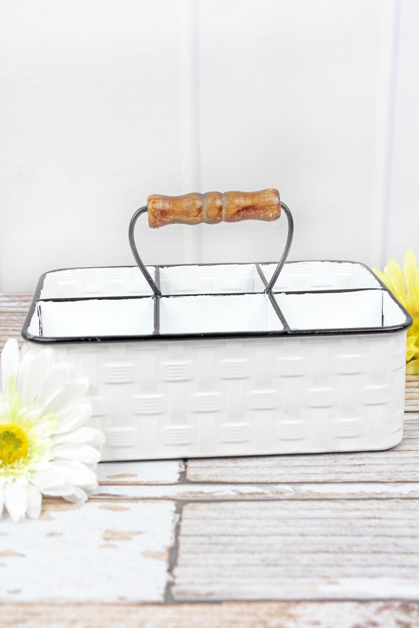 5.25 x 9.75 White Basket Weave Metal Organizer Basket