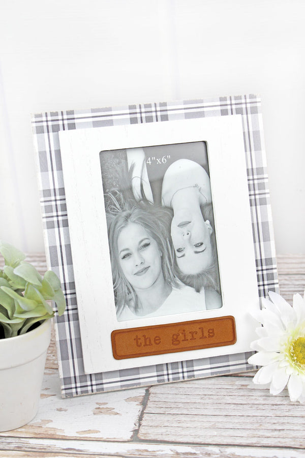 9.5 x 7.75 'The Girls' Leather Tag Wood 4x6 Photo Frame