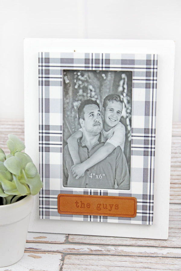 9.5 x 7.75 'The Guys' Leather Tag Wood 4x6 Photo Frame