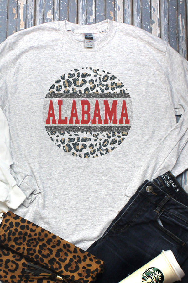 Circle Alabama Leopard Unisex Dri-Power Long-Sleeve 50/50 Tee