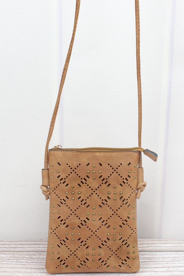 Studded Tan Perforated Faux Leather Petite Crossbody