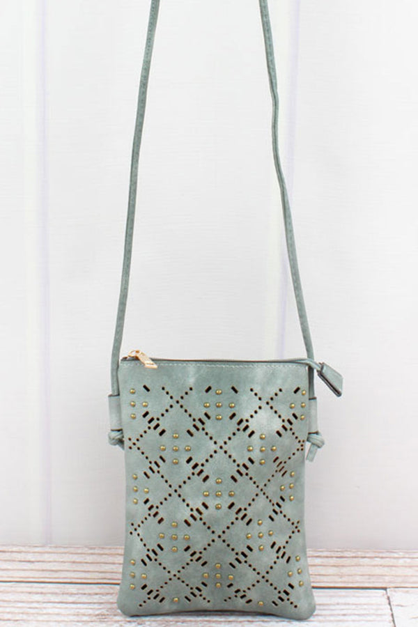 Studded Moss Perforated Faux Leather Petite Crossbody