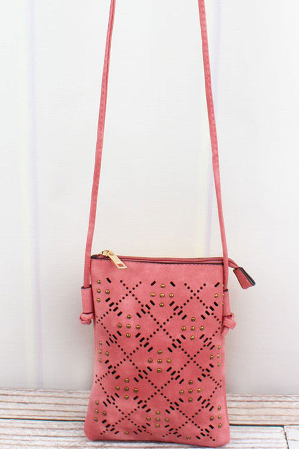 Studded Salmon Perforated Faux Leather Petite Crossbody