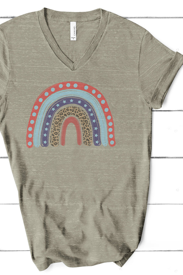 Patriotic Rainbow Unisex V-Neck Tee