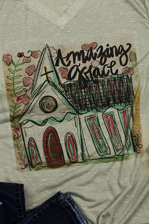 Amazing Grace Church House Unisex V-Neck Tee