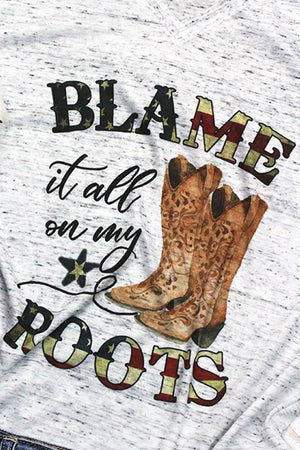 Blame It All On My Roots Unisex V-Neck Tee