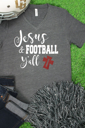Jesus & Football Y'all Unisex V-Neck Tee #3005 *Choose Your Colors