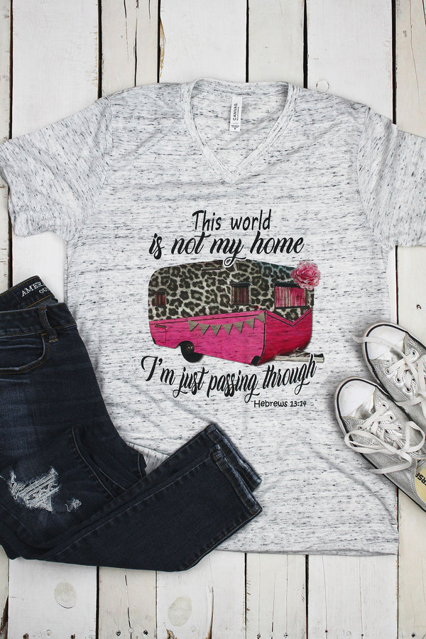 Leopard This World Is Not My Home Unisex V-Neck Tee