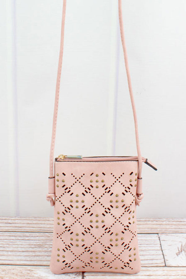 Studded Blush Perforated Faux Leather Petite Crossbody