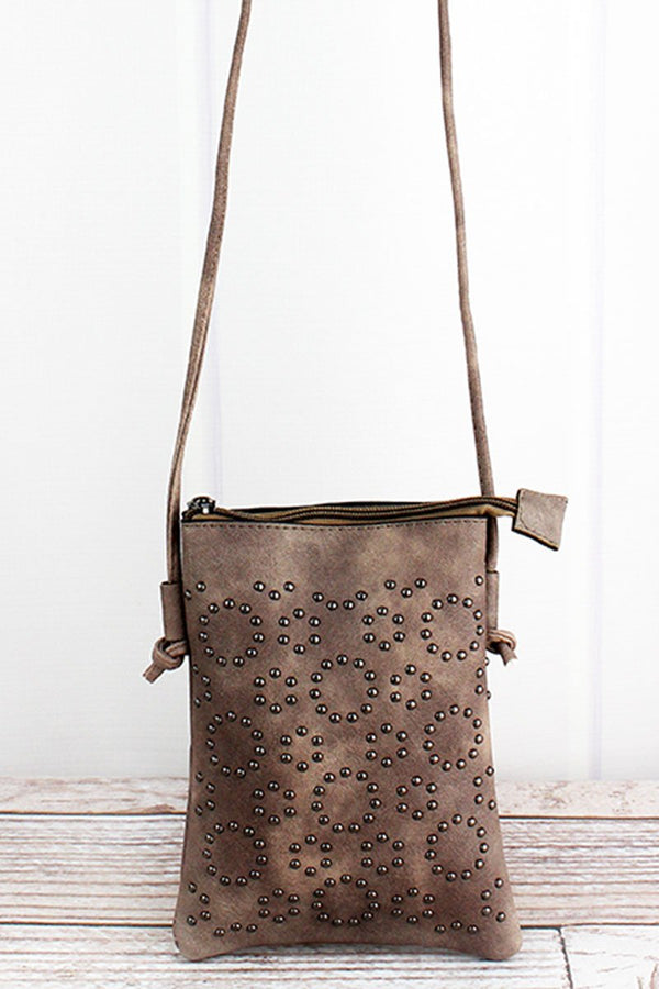 Studded Bronze Leather Cellphone Pocket Crossbody
