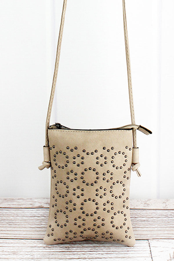 Studded Tan Leather Cellphone Pocket Crossbody
