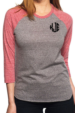 Threadfast Unisex Triblend 3/4-Sleeve Raglan, Gray/Red Triblend #302G *Personalize It