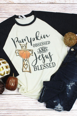 Pumpkin Obsessed and Jesus Blessed Unisex Triblend 3/4-Sleeve Raglan