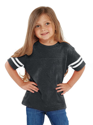 Rabbit Skins Toddler Fine Jersey Varsity Tee, Heather/White *Personalize It