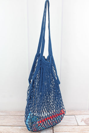 Blue Net Seashell Bag