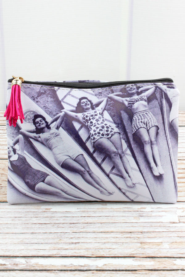 Black and White Vintage Surfer Girls Pouch