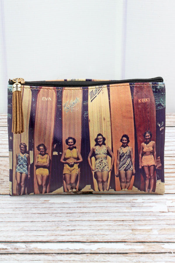 Sepia Vintage Surfer Girls Pouch