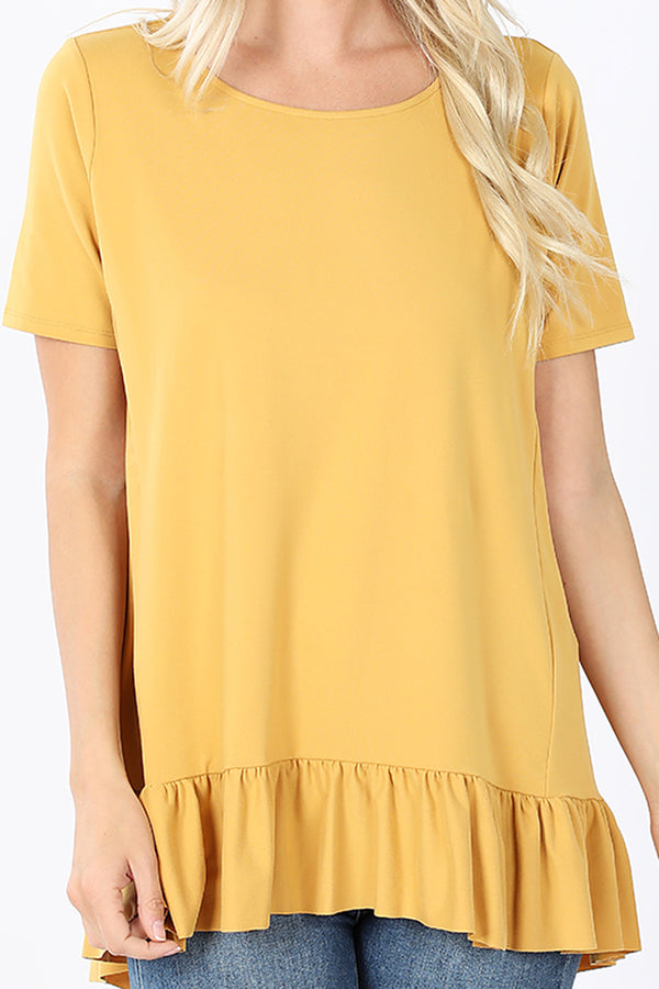 Light Mustard Brushed Ruffle Bottom Hi-Lo Top