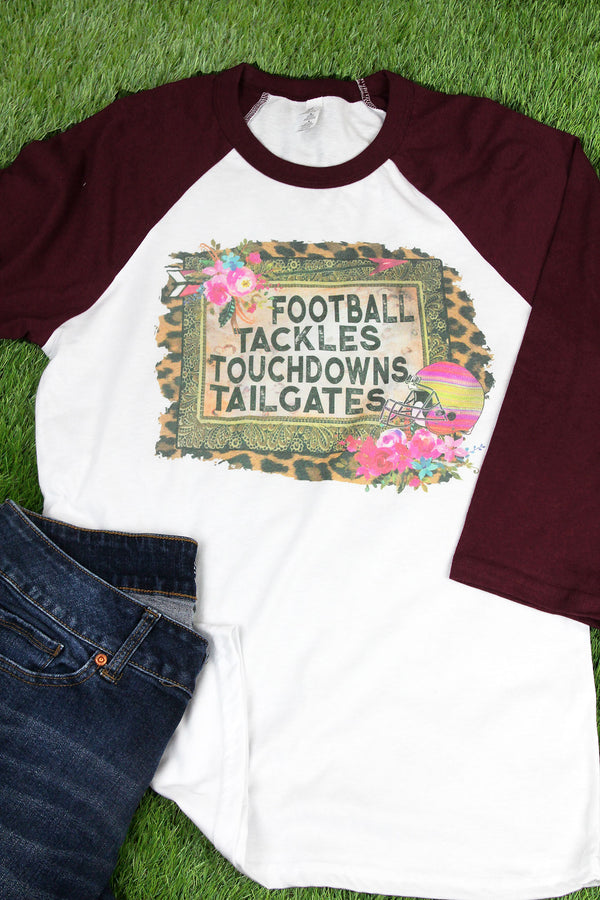 Football, Tackles, Touchdowns, Tailgates Unisex 3/4 Sleeve Tee