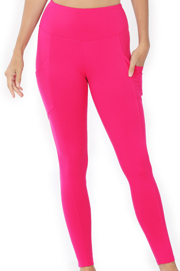 Hot Pink Brushed Full Length Butter Leggings
