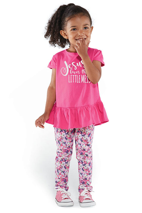 Jesus Loves This Little Mess Toddler Fine Jersey Ruffle Tee