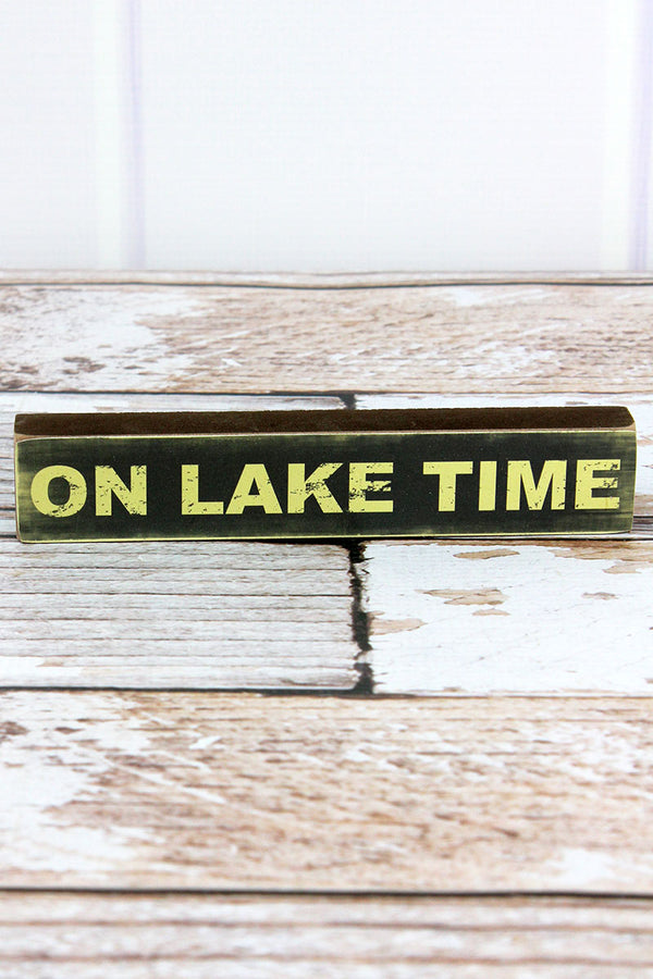 1.25 x 7 'On Lake Time' Wood Block Sign