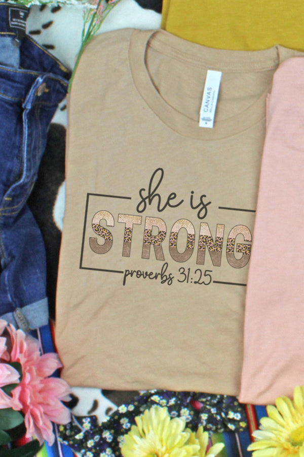 She Is Strong Tri-Blend Short Sleeve Tee