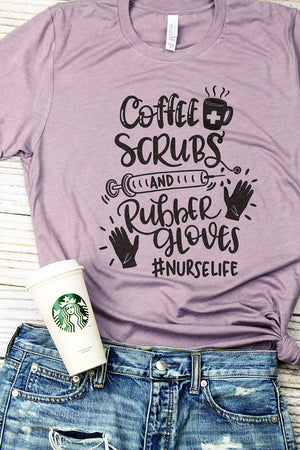 Coffee, Scrubs & Rubber Gloves Tri-Blend Short Sleeve Tee