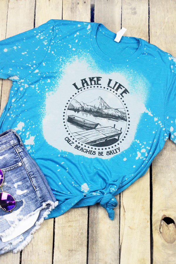 Bleached Lake Life Beaches Be Salty Tri-Blend Short Sleeve Tee