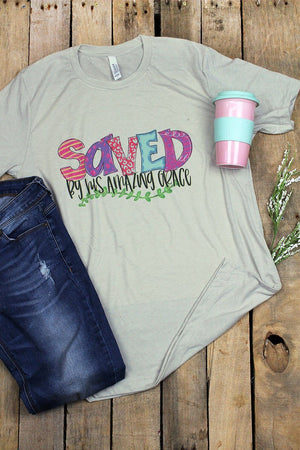 Saved By His Amazing Grace Tri-Blend Short Sleeve Tee